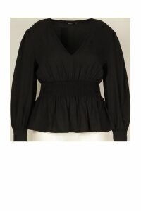 Womens Plus Shirred Waist Peplum Blouse - black - 20, Black