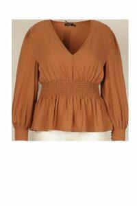 Womens Plus Shirred Waist Peplum Blouse - beige - 20, Beige