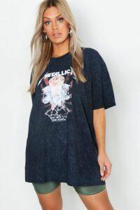 Womens Plus Metallica Washed T-Shirt - black - 20, Black