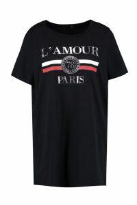 Womens Plus L'amour T Shirt Dress - black - 20, Black