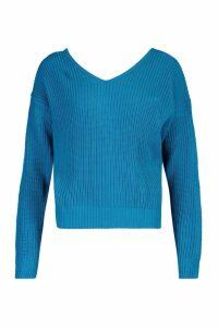 Womens Crop Twist Jumper - blue - M/L, Blue