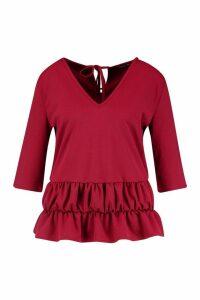 Womens Plus Tie Back Drop Ruffle Hem Smock Top - red - 16, Red