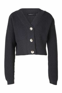 Womens Petite V Neck Plunge Button Up Crop Cardigan - grey - M, Grey