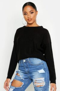 Womens Boxy Scoop Neck Jumper - black - M, Black