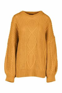 Womens Oversized Cable Jumper - yellow - M/L, Yellow