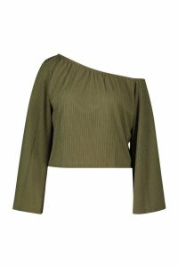 Womens Plus Oversized Rib Crop jumper - green - 22, Green