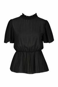 Womens Petite Shirred Neck Angel Sleeve Blouse - black - 14, Black
