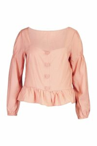 Womens Plus Button Detail Smock Top - pink - 20, Pink