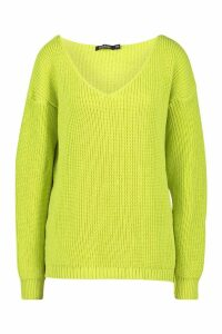 Womens Oversized V Neck Jumper - green - M/L, Green