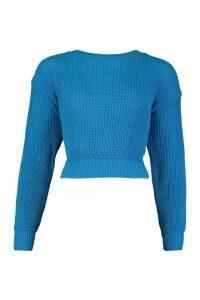 Womens Crop Fisherman Jumper - blue - M/L, Blue