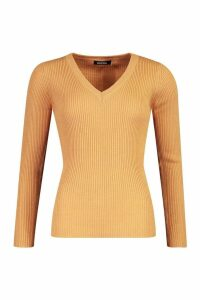 Womens Ribbed V-Neck Jumper - beige - M, Beige