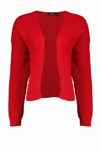 Womens Oversized Rib Crop Cardigan - red - M/L, Red
