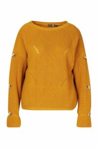 Womens Plus Horn Button Slouchy Jumper - yellow - 20, Yellow