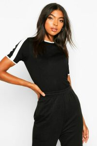 Womens Tall Contrast Tape T-Shirt - black - 16, Black