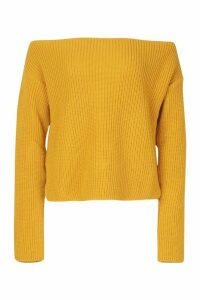 Womens Off The Shoulder Slouchy Jumper - yellow - M, Yellow