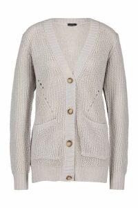 Womens Button Through Cardigan - silver grey - M, Silver Grey