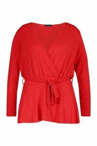 Womens Plus Wrap Self Belt Peplum Top - red - 20, Red