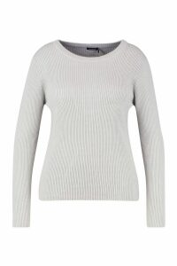 Womens Plus Ribbed Crew Neck Jumper - grey - 20, Grey