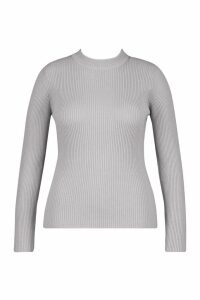 Womens Plus Ribbed roll/polo neck Jumper - grey - 20, Grey