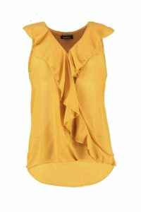 Womens Ruffle Front Sleeveless Blouse - yellow - 14, Yellow