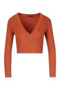 Womens Petite Rib Wrap Front Tie Detail Top - orange - 14, Orange