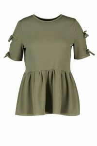 Womens Plus Tie Sleeve Detail Smock Top - green - 20, Green