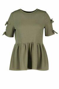 Womens Plus Tie Sleeve Detail Smock Top - green - 20, Green