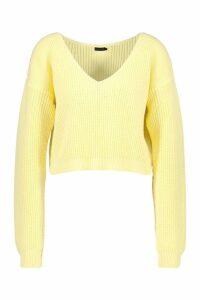 Womens V Neck Fisherman Crop Jumper - yellow - S, Yellow