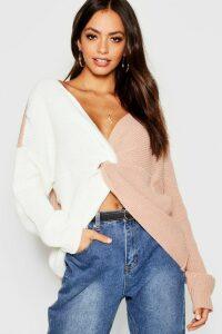 Womens Knitted Colour Block Twist Front Jumper - Beige - M/L, Beige
