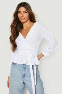 Womens Bell Sleeve Wrap Over Top - white - 16, White