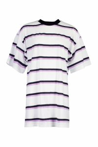 Womens Oversized Stripe T-Shirt Dress - white - S/M, White