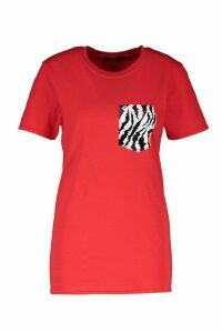 Womens Zebra Foil Pocket Graphic Tee - red - S, Red
