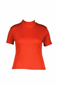 Womens Plus Cap Sleeve High Neck Rib Tee - orange - 22, Orange