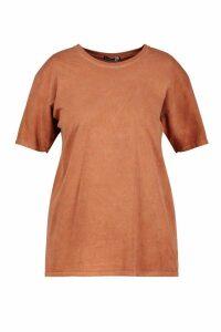 Womens Plus Washed Effect T-Shirt - orange - 16, Orange