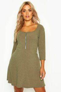 Womens Plus Soft Rib Zip Front Skater Dress - green - 16, Green