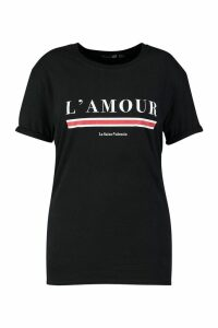 Womens Plus L'Amour Slogan T-Shirt - black - 16, Black