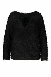 Womens Plus Wrap Front Fluffy Knit Jumper - black - 20, Black