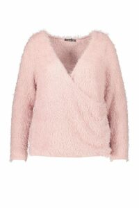 Womens Plus Wrap Front Fluffy Knit Jumper - pink - 20, Pink
