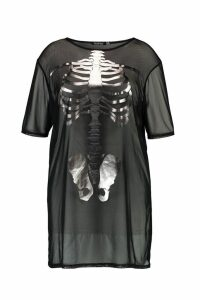 Womens Plus Amber Halloween Mesh Skeleton T-Shirt Dress - black - 18, Black