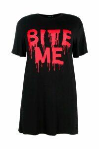 Womens Plus Lexi Halloween Slogan T-Shirt Dress - black - 20, Black