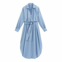Striped Maxi Shirt Dress in Cotton Mix