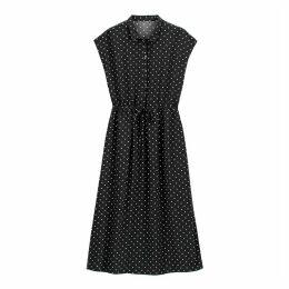 Polka Dot Shirt Dress with Tie-Waist
