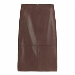 Leather Mid-Length Pencil Skirt