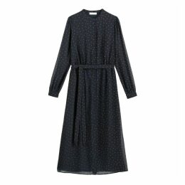 Midi Shirt Dress with Polka Dots