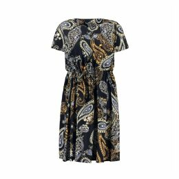 Short Paisley Print Dress with Short Sleeves
