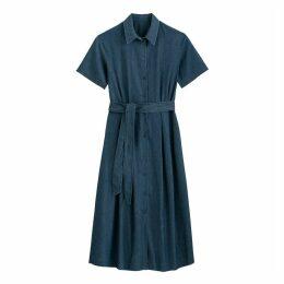 Denim Midi Shirt Dress with Tie-Waist