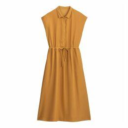 Midi Shirt Dress with Tie-Waist