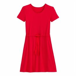 Ribbed Flared Dress with Drawstring Waist