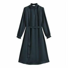 Ruffled High Neck Midi Dress with Long Sleeves