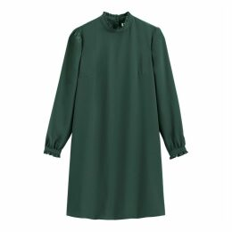 High Ruffled-Neck Shift Dress with Long Sleeves